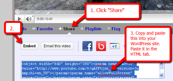 Youtube's Share & Embed Options